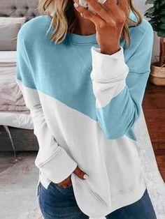 Casual Tops, Casual Shirts, Shirts & Tops, Casual Pants, Casual Wear, Sweatshirt Femme, Sweat Shirt, Autumn T Shirts, Shirt Bluse