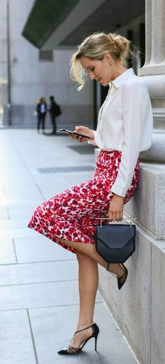 Hard to beat an interesting pencil skirt with a white blouse for classic attire!                                                                                                                                                                                 More