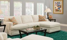 Acme Furniture Norell 52315 106 Sectional Sofa with Left Arm Facing Sofa Right Arm Facing Chaise Accent Pillows Tight Back Cushion and Fabric Upholstery in Sassy Cream -- Click image for more details.