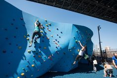 This newly-renovated park offers spectacular views and new ways to engage with the Brooklyn waterfront year-round, along with rotating art installations and public restrooms at 99 Plymouth. Climbing Wall, Rock Climbing, Brooklyn Bridge Park, Installation Art, Art Installations, Dog Runs, Pebble Beach, Nautical Theme, Main Street