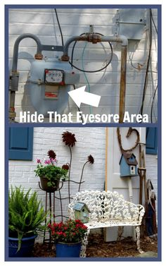 Curb Appeal ~ Hiding An Eyesore In the Garden http://ourfairfieldhomeandgarden.com/curb-appeal-hiding-an-eyesore-in-the-garden/