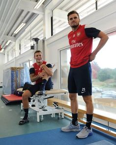 Jack Wilshere & Carl Jenkinson in the first day training for season 2013/2014. Nice training kit by the way (July 2013)