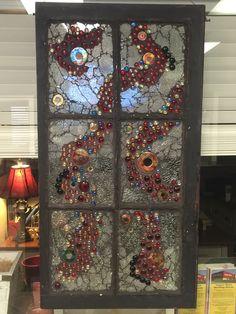 Joan's Window, glass gems and crash glass on old window. Glass Works by Kelly