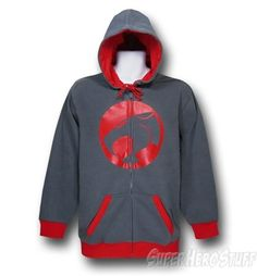 thundercats symbol red highlights zip up hoodie