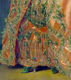 apricot silk gown, metallic thread trim festooned with embroidered garlands of white rosettes and greenery. Matching green silk mules with bows. From the portrait of Grand Duchess Maria Fiodorovna (at the age of 18), 1777. Alexander Roslin (1718–1793)
