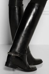 Christian Louboutin Cate Chaintrimmed Leather Riding Boots in Black - Lyst