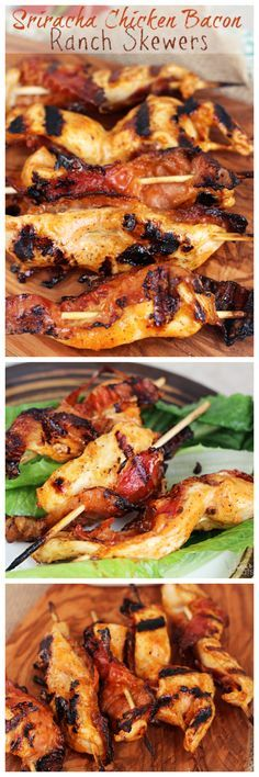 Sriracha Chicken Bacon Ranch Skewers ~ Chicken Marinated in Bacon Ranch and Kicked up with Sriracha then Grilled on Skewers with Bacon!
