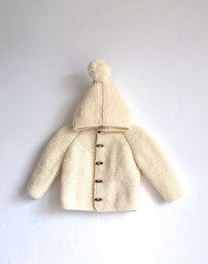 Hand Knitted Baby Wool Hoodie Cardigan/Jacket, Chunky, Duffel Coat, Raglan with Pom Pom