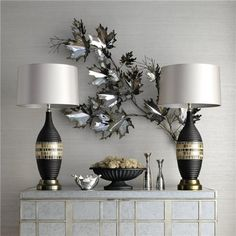 Pair of Lamps MidCentury Modern Black and Gold by OldLightingSpot, $480.00