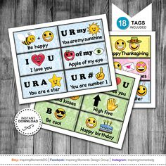 INSTANT DOWNLOAD   Printable Kids Lunch Tags   Kindergarten   Pre-School   Emoji   Lunch Box Fun   Lunch Notes   Perfect For The Non Reader by InspiringMomentsDG on Etsy