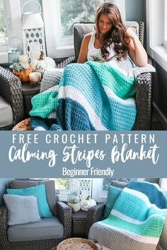 Crochet Throw Pattern, Striped Crochet Blanket, Easy Crochet Blanket, Afghan Crochet Patterns, Crochet Blankets, Crocheting Patterns, Crochet Afghans, Baby Blankets, Crochet Stitches