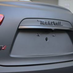 Maserati Quattroporte with matte black wrap with gloss trim, logo and accents. Matte Black Wrap, Maserati Quattroporte, Custom Wraps, Car, Automobile, Cars