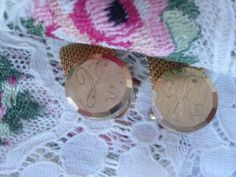 Vintage Initial H Wrap Around Gold Tone Cuff Links