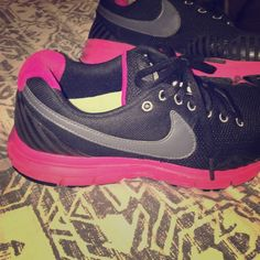 Nike black and pink athletic shoes NIKE black and pink athletic shoes! Super cute and extremely comfortable. Got a lot of use out of them but they are truly in very good condition. Willing to negotiate a price for these!(: Nike Shoes Athletic Shoes