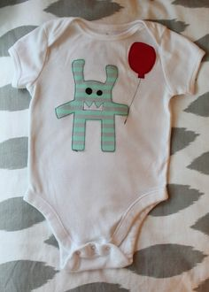 Little Monster with a Balloon Applique Onesie for 6-12M
