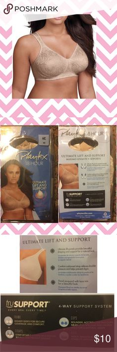 NWT Playtex 18 Hours Ultimate Lift & Support Bra NWT Playtex 18 Hours Ultimate Lift & Support Bra. Nude. Wire-free. Soft cup design and lift panels give natural shaping and support. Wide adjustable comfort straps. Never opened. Wrong size for me; unable to return. My loss is your gain. Cover photo for reference only. Bundle and save! I accept reasonable offers. From a smoke free 💨, pet friendly 🐶 🐱 🐦 home 🏡. Playtex Intimates & Sleepwear Bras