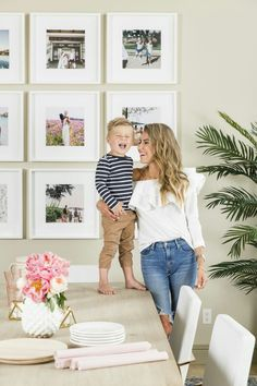 Room Reveal Mom and Mini classic looks. Love B in his striped navy shirt and totally obsessed with my off the shoulder top!Mom and Mini classic looks. Love B in his striped navy shirt and totally obsessed with my off the shoulder top! Wall Collage, Frames On Wall, White Frames, Gold Frames, Wall Décor, Wall Picture Frames, Frames Decor, Gallery Wall Frames, Frames Ideas