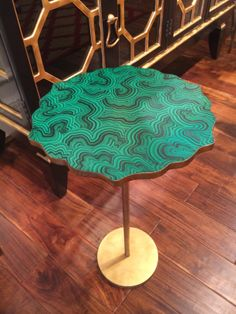 Chelsea House Gold and Malachite Painted Table - great #shape in #gold and weighty so it doesn't tip over #hpmkt 200 N. Hamilton St S Court 104