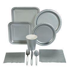 Metallic Silver Tableware - OrientalTrading.com