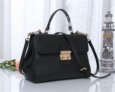 2014 Latest Miu Miu Snap-Lock Tote Bag 6871 in Black Goat Leather