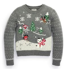 Buy Grey Scene Sweater from the Next UK online shop Kids Winter Fashion, Winter Kids, Kids Fashion, Womens Fashion, Christmas Jumpers, Christmas Sweaters, Christmas Trends, Christmas Patterns, Metallic Prints