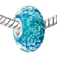 Sterling Silver Jewelry - AQUAMARINE BLUE BUBBLES FIT ALL BRANDS MURANO GLASS BEADS CHARMS BRACELETS alternate image 1.