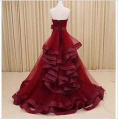 Red Sweetheart Satin A-line Wedding dress