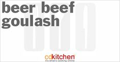 Made with beef stew meat, onion, oil, beer, water, tomato paste, paprika, salt, caraway seed, black pepper, potatoes, sauerkraut, parsley | CDKitchen.com