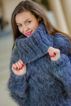 ____________ COLOUR : Gray ( There may be a slight difference because of the different monitors' representation) ____________ ♥ In the picture the model is wearing a garment with these measur Fluffy Sweater, Mohair Sweater, Knit Sweater Dress, Turtleneck Dress, Winter Sweater Dresses, Winter Sweaters, Sweater Outfits, Hand Knitted Sweaters, Wool Sweaters