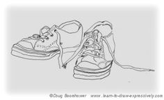 This website has a lot of information about what contour line drawing is and how to create it. It provides an example of a contour line drawing of a familiar object (shoes). This image includes no shading, which is important to keep in mind when creating a contour line drawing. 4- M.Z. & B.K.