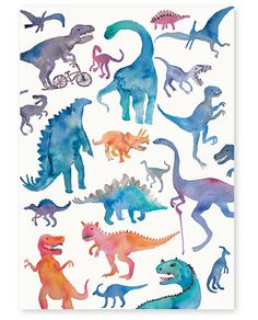 Draw Dinosaurs Image of Dinosaurs' Art Print - Dinosaurs' is a quality print of an original artwork by illustrator Annie Davidson. The paper stock is with a subtle eggshell. Dinosaur Posters, Dinosaur Images, Dinosaur Art, Art And Illustration, Illustrations Posters, Watercolor Animals, Watercolor Art, Ancient Aliens, Illustrator