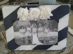 Adorable Navy and White Diagonal Stripe Distressed Frame Embellished With White Paper Flowers White Paper Flowers, Distressed Frames, Vintage Picture Frames, Navy And White, Burlap, Rustic, Pictures, Crafts, Wedding