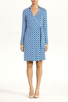 New Jeanne Two Dress In Chain Link Medium Blue by DVF