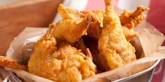 This Appalachian-inspired Buttermilk Fried Quail recipe is the epitome of comfort food. Quail Recipes, Wine Recipes, Spicy Fried Chicken, Onion Rings, Serving Platters, Fries, Bacon, Meals, Dishes