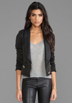 IRO Ashby Leather Trim Jacket in Noir