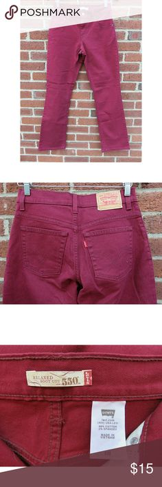 """NWOT Levi's 550 Jeans Dark Red Bootcut Small/4 +New without tags! Relaxed boot cut 550 Levi's ladies jeans, dark red, size ladies 4. Measurements: 30.25"""" inseam,13.5""""across waist, by 9"""" inseam, size 4/ladies small.  +Bundle with my other men's/women's items or kids/baby clothes :-) Please ask any questions before buying. Smoke & pet free home. Thanks for shopping this WAHM's Suggested User closet! Levi's Jeans Boot Cut"""