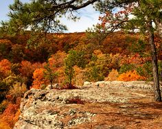 The Rocky Bluff over the Autumn Ozark Valley ...