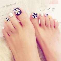 24 pcs cute colorful flower pattern false toe nails for women - cute 24 pcs floret false toe nails for women – very-popular-jewe… - Cute Nail Art Designs, Nail Designs Spring, Toe Nail Designs, Acrylic Toe Nails, Toe Nail Art, Nail Nail, Pretty Toe Nails, Cute Toe Nails, Diy Nails Stickers