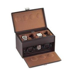Rotore in pelle di lusso Scatola del tempo, modello per la carica di tre orologi con ulteriori 4 spazi #rotori #scatoladeltempo