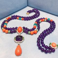 A glorious amethyst, emerald, and coral necklace by David Webb!