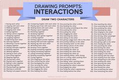 drawing prompts 100 character interaction ideas to help hone your posing skills. These require two characters, but you can also grab a friend to draw the other one! 30 Day Drawing Challenge, Art Style Challenge, Oc Challenge, Art Journal Challenge, Character Prompts, Character Drawing, Character Ideas, Character Creation, Character Design
