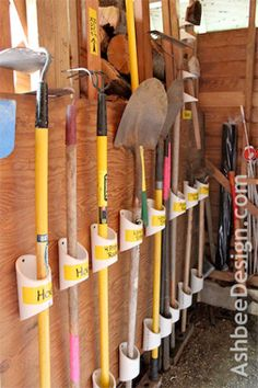 Storage tip: Give each of your long-handled landscape tools a home of their own with leftover pieces of plastic PVC plumbing pipe #Pin the Season