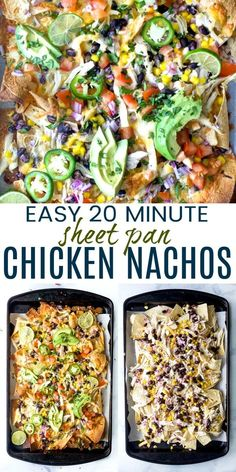 Easy 20 Minute Sheet Pan Chicken Nachos recipe drizzled with a yogurt cilantro lime crema. These chicken nachos are deli. Chicken Nachos Recipe, Easy Chicken Recipes, Cooking Recipes, Healthy Recipes, Healthy Foods, Football Food, Game Day Food, Mexican Food Recipes, Vitamins