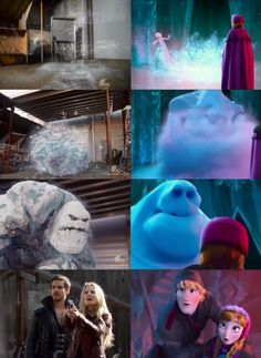 Once Upon a Time and Frozen parallels. Emma, Hook and Frosty/ Anna, Kristof and Marshmallow