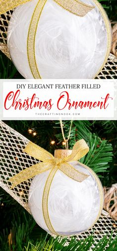 This soft Feather Christmas Ornament is an easy project and will bring a touch of understated elegance and glam to your Christmas tree.#christmasornament #christmascraft #featherornament #feathercraft