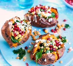 Barbecued sweet potato jackets with a bean and spinach filling, an ideal vegetarian option or make it vegan using a dairy-free yogurt alternative