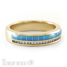 Men's Alternative Wedding Band with Turquoise, Gold and Diamonds | The Alchemy Bench #BridalTransformed