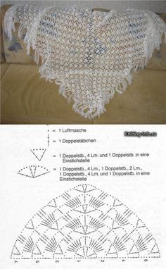Crochet Patterns Poncho Patterns and motifs: Five pattern for scarvesThis post was discovered by LiBilledresultat for baktus uncinetto tutorial Crochet Shawl Diagram, Crochet Shawl Free, Crochet Wool, Crochet Chart, Crochet Scarves, Crochet Clothes, Crochet Stitches, Shawl Patterns, Knitting Patterns