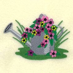 Watering Can With Flowers 1 - 4x4 | What's New | Machine Embroidery Designs | SWAKembroidery.com Starbird Stock Designs
