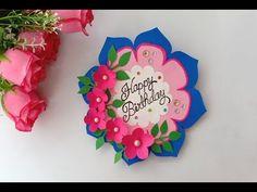 How to make Birthday Card // Handmade easy card Tutorial Origami Birthday Card, Flower Birthday Cards, Funny Birthday Cards, Flower Cards, Birthday Humorous, Birthday Sayings, Birthday Images, Birthday Greetings, Happy Birthday Cards Handmade